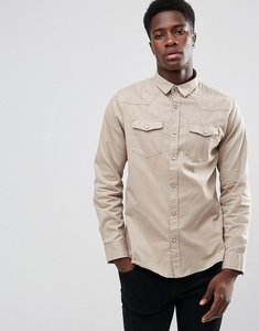 Read more about Brave soul double pocket long sleeve shirt - stone