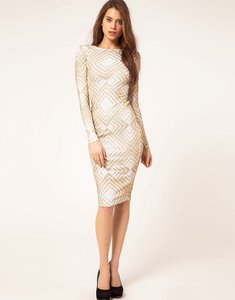 Read more about Asos midi dress in glitter print - white gold