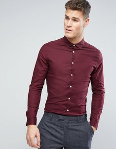 Read more about Asos smart skinny oxford shirt in burgundy - burgundy