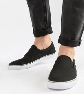 Read more about Asos wide fit slip on plimsolls in black canvas - black