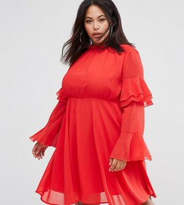 Read more about Club l plus high neck detailed tiered arm dress - red solid
