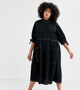 Read more about Asos design curve textured midi smock dress with tie sleeves