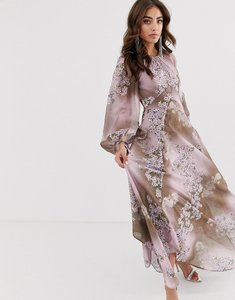 Read more about Asos design long split sleeve maxi dress with open back in placed floral print