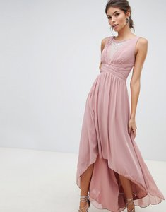 Read more about Little mistress empire detail dipped hem maxi dress with sheer embellished neckline