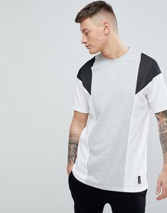 Read more about Bershka sport colour block t-shirt in grey and white - white grey