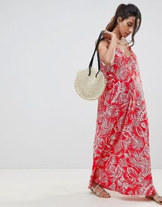 Read more about Asos design gathered maxi dress in palm print - palm print