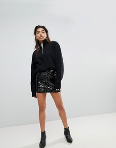 Read more about Mango vinyl ruffle front mini skirt - black