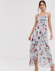 Read more about Little mistress asymmetric ruffle maxi dress in floral print