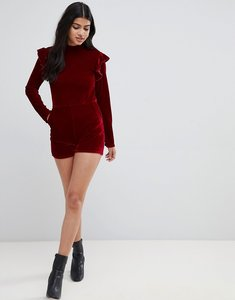 Read more about Glamorous frill shoulder long sleeve playsuit in velvet - raspberry