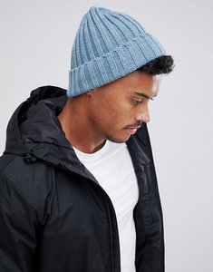 a3679cfcb34 Read more about Asos design fisherman beanie in blue chunky rib - blue