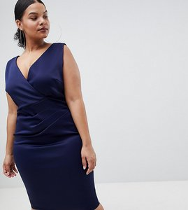 Read more about Flounce london plus wrap front midi dress - navy