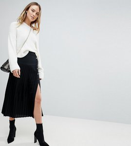 Read more about Asos tall pleated midi skirt with side button detail - black