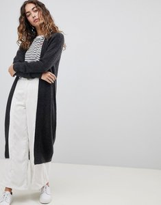 Read more about Asos design maxi cardigan in fluffy yarn - charcoal