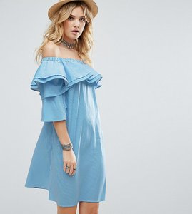 Read more about White cove tall off shoulder boned mini dress volumnious ruffle sleeve detail - stripe