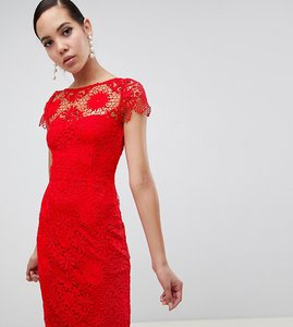 Read more about Paper dolls tall cap sleeve crochet lace pencil dress in red
