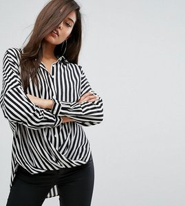 Read more about Parallel lines wrap front relaxed shirt in wide stripe - black and white