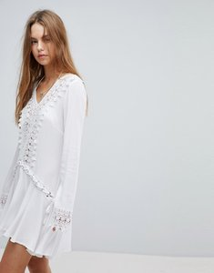 Read more about Surf gypsy crochet trim lace up beach cover up - white