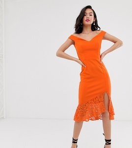 Read more about Laced in love scuba bardot pencil dress with lace frill hem in orange