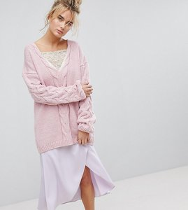 Read more about Oneon hand knitted deep v cable jumper - pink
