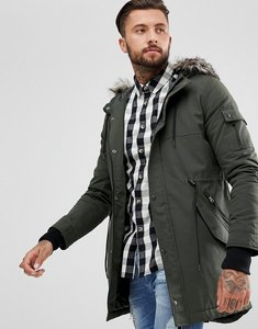 Read more about Yourturn heavyweight parka in khaki with faux fur hood - khaki
