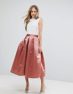 Read more about Closet london full prom sateen midi skirt - rust