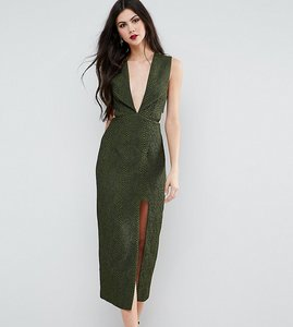 Read more about Asos tall deep plunge croc midi dress - green