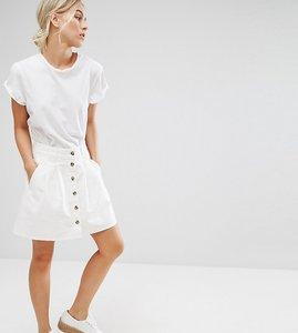 Read more about Asos petite denim button through skater skirt in white - white