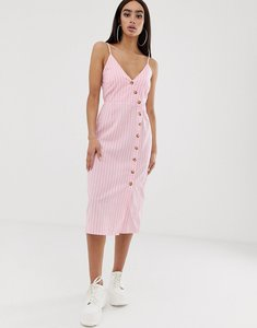 Read more about Prettylittlething midi cami dress with button through in pink stripe