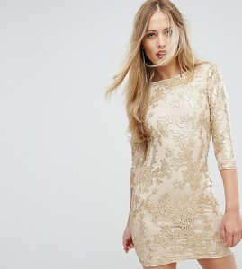Read more about Tfnc mini 3 4 length sleeve sequin dress - gold