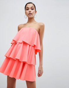 Read more about Asos design bandeau tiered mini dress - coral