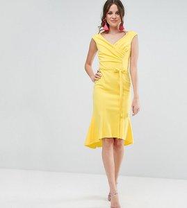 Read more about City goddess tall wrap front peplum midi dress - lemon