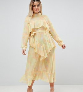 Read more about Asos white curve printed chiffon maxi dress - yellow