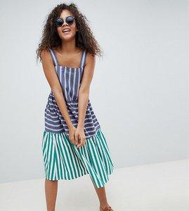 Read more about Asos design tall stripe midi tiered sundress - multi