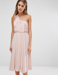 Read more about French connection cecil asymmetric drape midi dress - apricot spritz