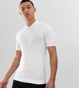 Read more about Asos design tall knitted muscle fit polo in white - white