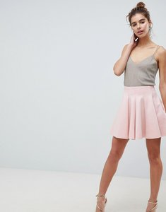 Read more about Asos design scuba mini skirt with high waist and box pleat - nude