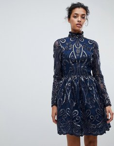 Read more about Chi chi london embellished sequin mini skater dress - navy