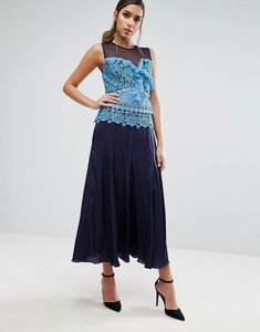 Read more about Three floor pleated midi dress with contrast lace detail - blue