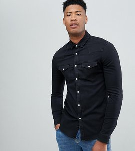 Read more about Asos design tall skinny western denim shirt in black - black