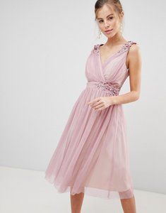 Read more about Little mistress mesh prom dress with floral applique and pearl trim - blush