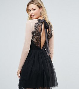 Read more about Asos tall premium sheer top tulle mini prom dress - black