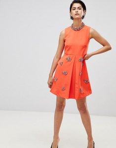 Read more about Forever unique embellished swing dress - orange