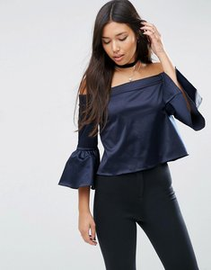 Read more about Asos satin off shoulder top - navy