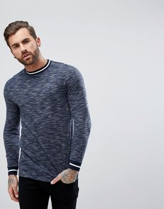 Read more about Asos longline long sleeve t-shirt in textured fabric with stripe tipping - navy
