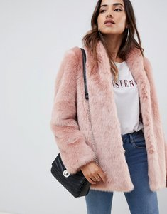 Read more about Asos design stand collar faux fur coat - pink
