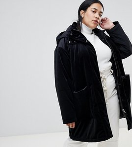 Read more about Asos design curve velvet parka - black