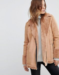 Read more about Religion oversized biker jacket with faux fur lining - nude