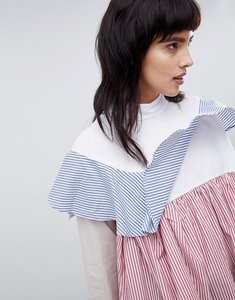Read more about Asos white oversized frill shirt with multi stripe - stripe