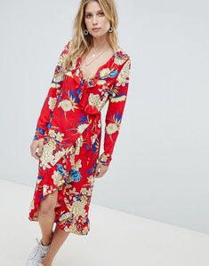 Read more about Prettylittlething floral ruffle wrap midi dress - red