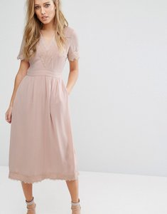 Read more about Warehouse lace v neck midi dress - pale pink